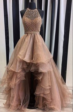 Beaded High Low Prom Dresses,2017 Senior Prom Gowns,Halter Pageant Dresses,Organza Formal Dresses,2065