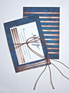 Copper and navy blue wedding invitation #MerryBrides
