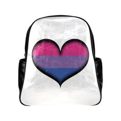 Bisexual Heart Multi-Pockets Backpack (Model 1636)