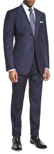 TOM FORD O'Connor Base Windowpane Two-Piece Suit, Navy/Gray