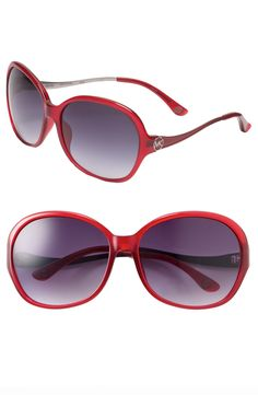 Michael Kors Drake - Oversized Round Sunglasses with red frames $90. Need for summer :)