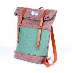 Harris Tweed Beige and Jade Roddy Backpack by Breagha