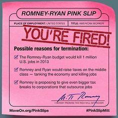 Justin's Political Corner: Romney-Ryan Pink-Slip