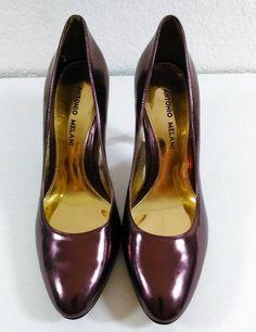 "Antonio Melani Purple Leather Iredescent Heels Pumps 3"" Heel Size 7.5M #AntonioMelani #PumpsClassics"