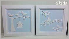 QUADRO PASSARINHOS AZUL -  Decoração quarto de menina, Coleção passarinhos, quadrinho provençal azul!!! #decor, #baby, #room www.gkids.com.br