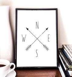 Compass Cardinal Directions Giclee Art Print Wall by RandomsPrint, $14.95