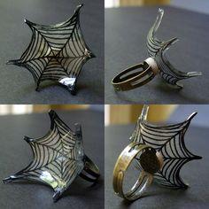 Shrink Plastic rings that look like webs