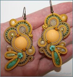 Mustáros varázs - sujtás fülbevaló / Mustard Magic - soutache button earrings