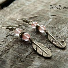 Boucles d'oreilles mes petites plumes en quartz rose
