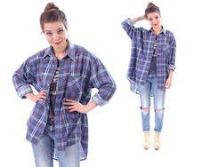 NAVY Flannel Shirt Plaid Shirt 80s Oversized Grunge от BetaApparel
