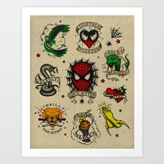 Spidey Tattoo Flash Art Print by Andy Pitts - $15.00