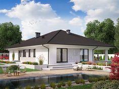 Projekt domu KA23 144,26 m2 - koszt budowy - EXTRADOM Modern Family House, Modern Bungalow House, Bungalow House Plans, Dream House Plans, Modern House Design, Village House Design, Village Houses, New Home Designs, Home Design Plans