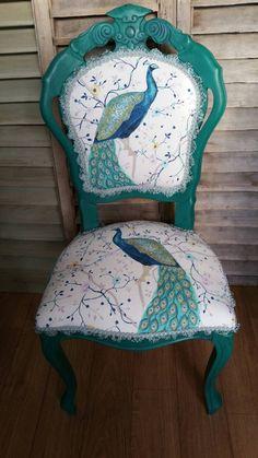 Peacock Fabric, Peacock Decor, Peacock Chair, Peacock Theme, Peacock Design, Peacock Colors, Peacock Feathers, Funky Furniture, Repurposed Furniture