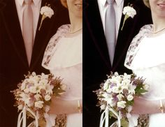 Restored colour in wedding bouquet Wedding Bouquets, Lace Wedding, Wedding Dresses, Photo Repair, Old Photos, Colour, Fashion, Bride Dresses, Old Pictures