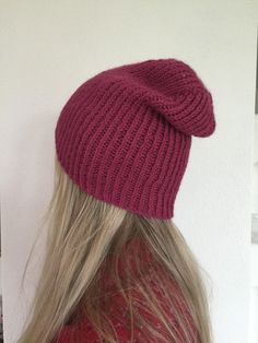 Knit Beanie Knitted Hat Red Pink Knit Hat Slouchy by woolpleasure