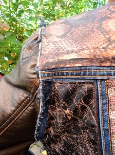 Upcycled Jean jacket with leather mix by daughter/mother team Sophia Scanlan and Victoria Pero for Stubborn Jeans. $90
