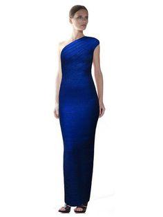 Herve Leger Gown Lydia Woodgrain Foil-Print One Shoulder Blue Dress