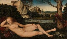 Lucas cranach the younger (and workshop) (1515-1586) German Renaissance Artist, known for his woodcuts and paintings. He was the son of Lucas Cranach. He was an apprentice at his father's workshop from 1525, and then his importance grew.  Nymph at the source - 1550, oil.  The National Gallery Oslo. Norway.