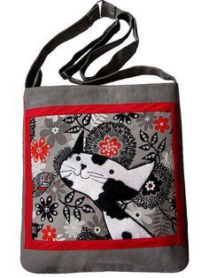 Cat Bag with Zipper Grey Messenger Bag with Adjustable by ifONA  #handmade #cat bag #gift for cat lovers #happy cat #smiling cat #ooak cat bag #ifONA