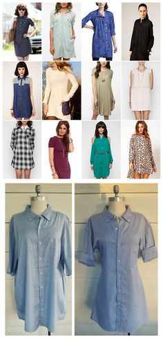 DIY Men's Shirt to Women's Shirt Dress