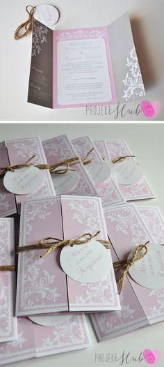 eleganckie zaproszenia, zaproszenia z ornamentem, ornament ślubny, rustykalne zaproszenia, eleganki ślub, szaro różowy ślub, pastelowe zaproszenia, motywy roślinne, oryginalna papeteria ślubna,