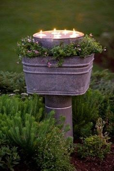 Sweet ..bucket in a bucket and floating votives