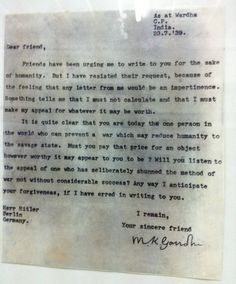 A letter from Gandhi to Hitler trying to persuade him to avoid World War II.