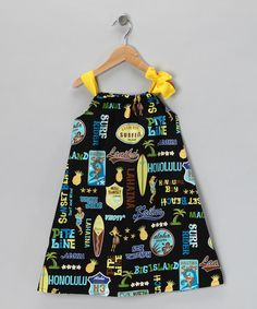 Take a look at this Yellow Vintage Honolulu Ribbon Dress - Toddler & Girls by Coradorables on #zulily today#zulily #fall