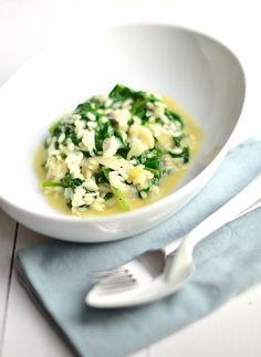spinazie risotto met blauwe kaas. Uit Paulines keuken