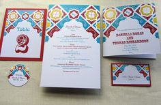Mexican Tile Wedding Ceremony Reception Stationery. Handmade with your custom colors by ImbueYouIDo, $5.75