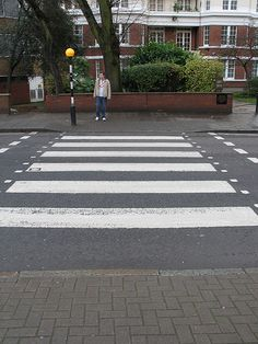 Checking for traffic at the Beatles Abbey Road Crossing. London England. Scott Bergey www.scottbergey.com