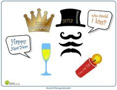 New Years Eve Photo Booth Printables - Mom it Forward Photobooth Props Printable, Printable Banner, Free Printables, Party Printables, Nye Traditions, Animation Photo, Diy Photo Booth, Photo Props, New Years Eve 2016