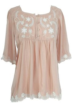 Embroidered Button Front Blouse in Dusty Rose form http://www.lilyboutique.com/shop/tops/embroidered-button-front-blouse-in-dusty-rose/ for just $36