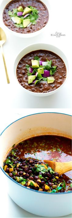 Spicy Black Bean Soup that's vegan and totally delicious!Spicy Black Bean Soup that's vegan and totally delicious! Think Food, I Love Food, Good Food, Yummy Food, Bean Soup Recipes, Vegetarian Recipes, Cooking Recipes, Healthy Recipes, Vegan Soups