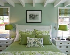 Another shot of the Green bedroom. Wall color is Benjamin Moore Antique Jade. Breakers Beach House contemporary bedroom