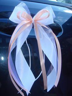 10 x Antennenschleife / Autoschleife Aus 5 Taft- und Organzabändern ( in verschiedenen Breiten ) mehrlagig gebundene Schleife, verziert mit Pe...