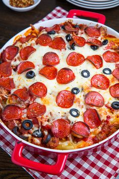 Pepperoni PIzza Casarole ~ Ingredients: 12 ounces pasta, 1/2 pound Italian turkey sausage casings removed, 3 cups (24 ounces) pizza sauce or marinara sauce, 1/2 cup sliced black olives, 4 ounces pepperoni,  8 ounces ricotta, 2 cups mozzarella shredded, 1/2 cup parmigiano reggiano (parmesan) grated, 1/2 teaspoon oregano (optional).