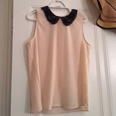 Pale pink tank top with jeweled collar Pale pink tank top with jeweled and lace collar, zip back, length 26 inches, 100% polyester Leo Meets Virgo Tops Tank Tops