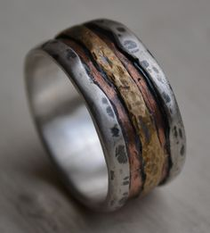 mens wedding band  rustic fine silver copper and by MaggiDesigns, $285.00