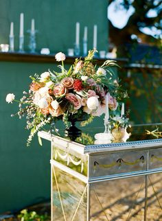 Garden compote floral arrangement for the bar. Wedding flowers! Diana Marie photography and Eventful Rentals