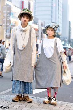 Harajuku Duo in Hats w/ San to Nibun No Ichi, Kinji, HuG & Vivienne Westwood (Tokyo Fashion, 2015)
