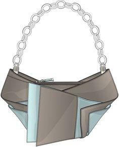 Evening Bag Dress Design Drawing, Drawing Bag, Jewelry Design Drawing, Flat Drawings, Flat Sketches, Bag Illustration, Clothing Sketches, Hand Chain, Black Pink Kpop