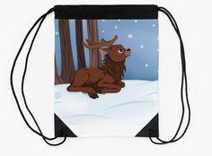 Winter Reindeer Drawstring Bag #reindeer #deer #snow #christmas #holidays