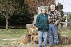 Chris and Allan Green pose with Mount Wood at Woodcrest Farm. Tours, Street, Gallery, Pose, Farmhouse, Roof Rack, Rural House, Roads, Cottages