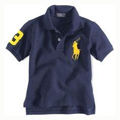 Discount Ralph Lauren Children's 1009 Cotton Short-sleeved Polo in Navy