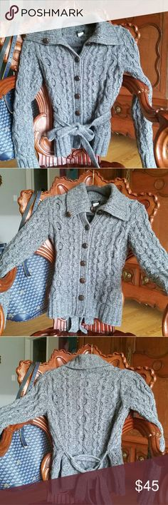 J Crew wool and cashmere gray cardigan XS Isn't this darling? Chunky knit grey cardigan with gorgeous brown buttons. J. Crew Sweaters Cardigans