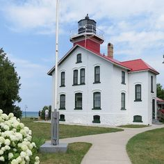 Grand Traverse Lighthouse Leelanau Peninsula in Michigan.