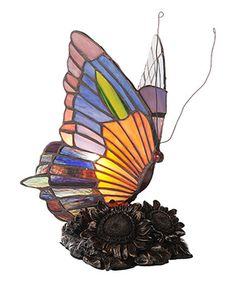 Loving this Stained Glass Butterfly Accent Table Lamp on #zulily! #zulilyfinds