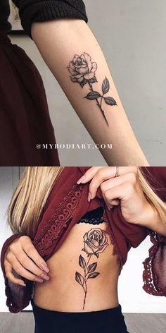 Vintage #Black #Single #Rose #Arm #Rib #Tattoo #Ideas #for #Women #- #ideas #del #tatuaje #del #brazo #de #la #costilla #color #de #rosa #solo #negro #para #las #mujeres #- #www.MyBodiArt.com