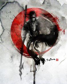 Another beautiful samurai drawings Art And Illustration, Ink Illustrations, Tattoo Samurai, Samurai Drawing, Fantasy Kunst, Fantasy Art, Tatuagem Trash Polka, Ronin Samurai, Samurai Warrior